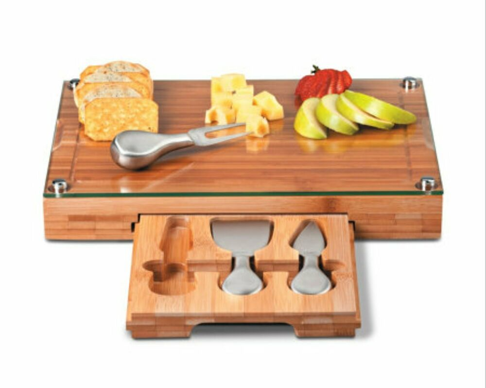 Glass Top Bamboo Cutting Board 3 Stainless Cheese Tools