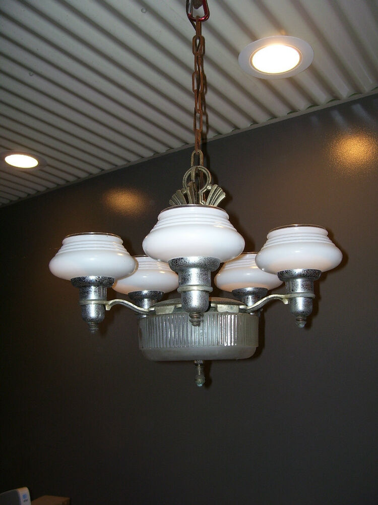 ANTIQUE 5 Arm CHANDELIER With GLASS Shades CEILING Light Hanging L248