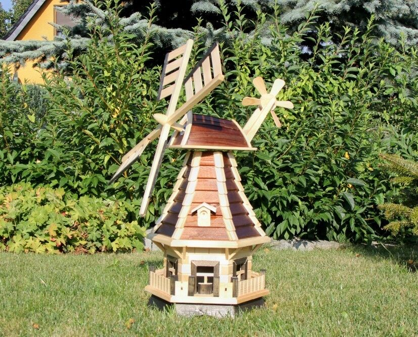 Garden windmill with solar braun natural type 1 1 ebay for Moulin en bois pour jardin