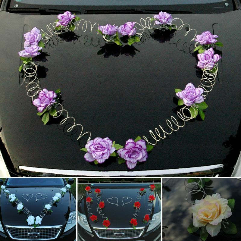 marta auto schmuck braut paar rose deko dekoration autoschmuck hochzeit ebay. Black Bedroom Furniture Sets. Home Design Ideas