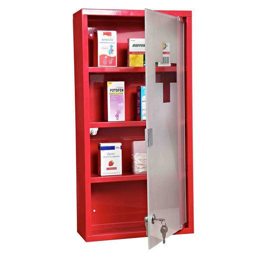 wall mounted medicine cabinet first aid box glass door lockable 3 shelves 60h ebay. Black Bedroom Furniture Sets. Home Design Ideas