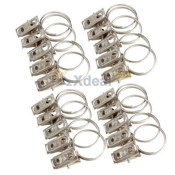Details About 20pcs Stainless Steel Window Shower Curtain Clips Hook Drapery Rings