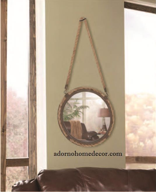 Small Rustic Rope Round Mirror Accent Metal Wall Decor