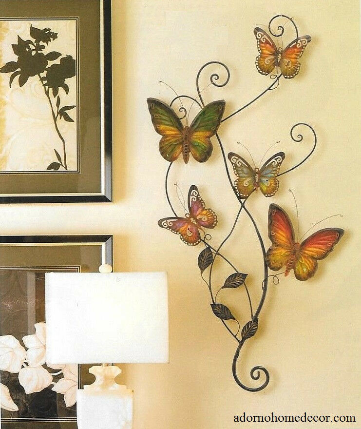 Metal butterfly wall decor art garden cottage unique for Outdoor butterfly decor