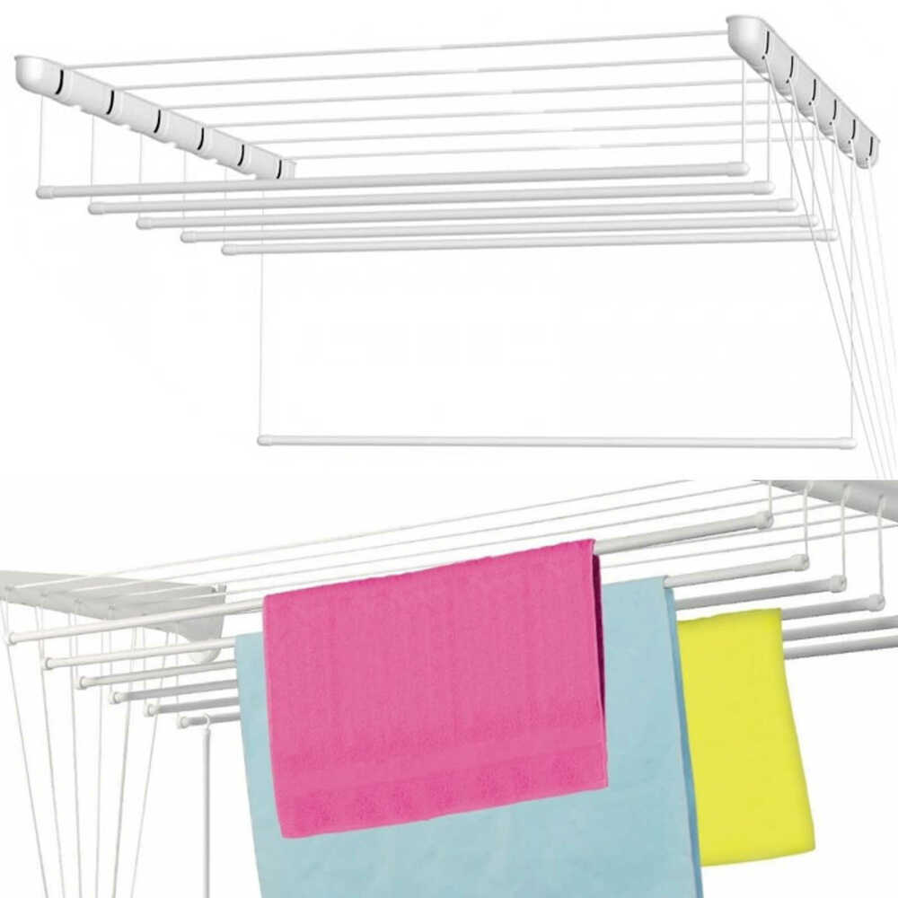 White Ceiling Dryer Pulley Airer Clothes Laundry 5 To 9