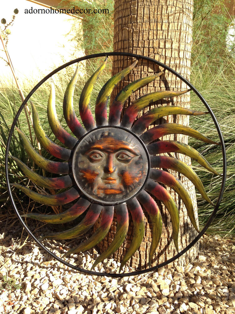 Large round metal sun wall decor garden art indoor outdoor for Outdoor metal wall art