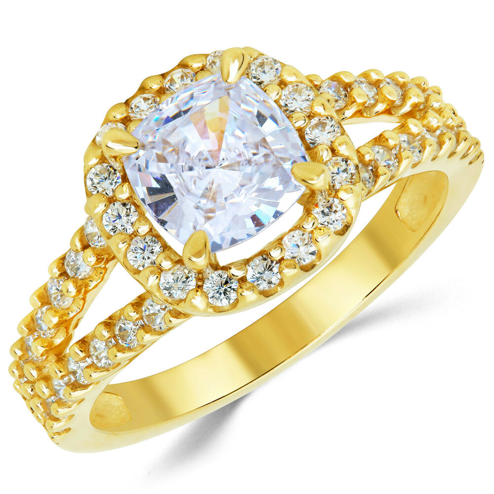 14k solid yellow gold cz cubic zirconia solitaire engagement ring 1 5 ct ebay. Black Bedroom Furniture Sets. Home Design Ideas