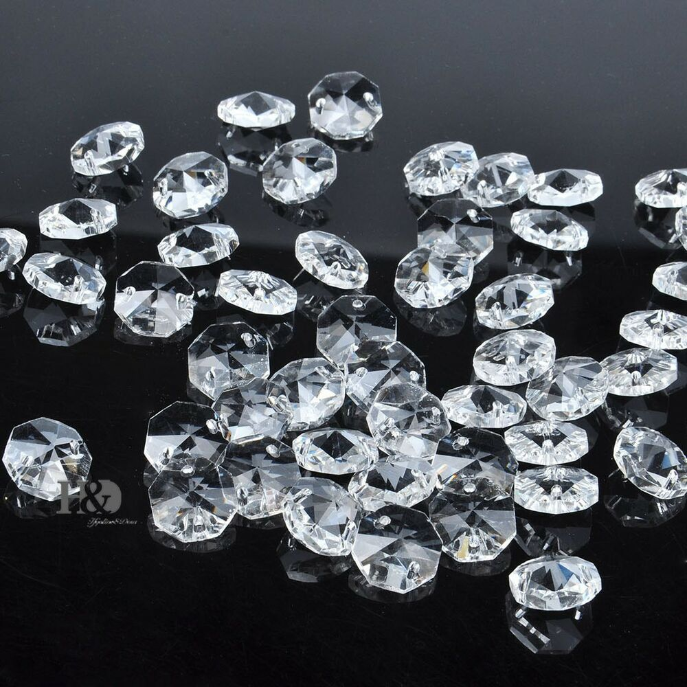 Sparkly 14mm crystal faceted octagon glass beads chandelier parts wholesale ebay - Chandelier glass beads ...