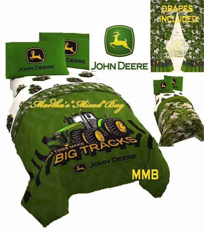 John Deere Tractor Farm Boys Green Camo Twin Full Size