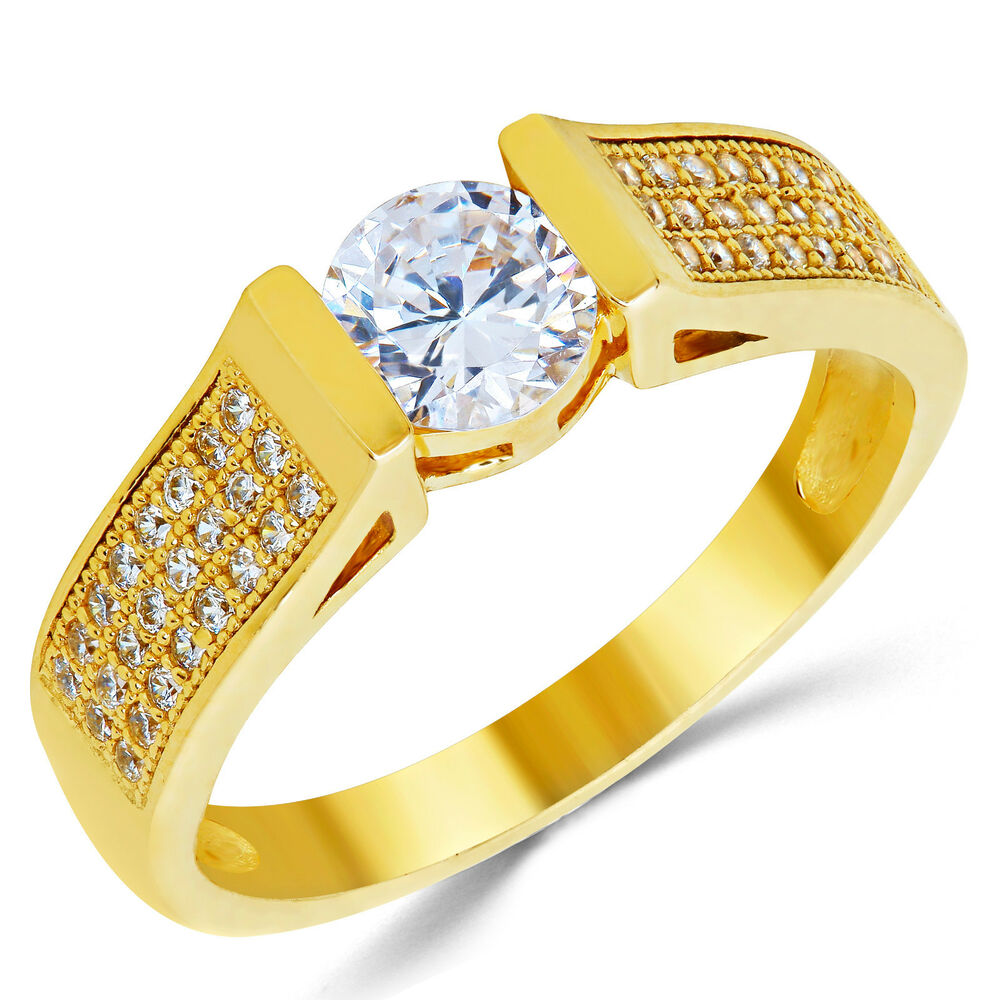 14K Solid Yellow Gold CZ Cubic Zirconia Solitaire Engagement Ring EBay