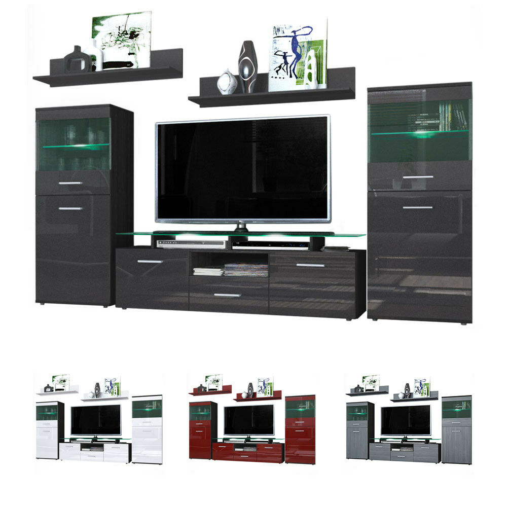 Wall Unit Living Room Furniture Almada Black High Gloss Natural Tones Ebay
