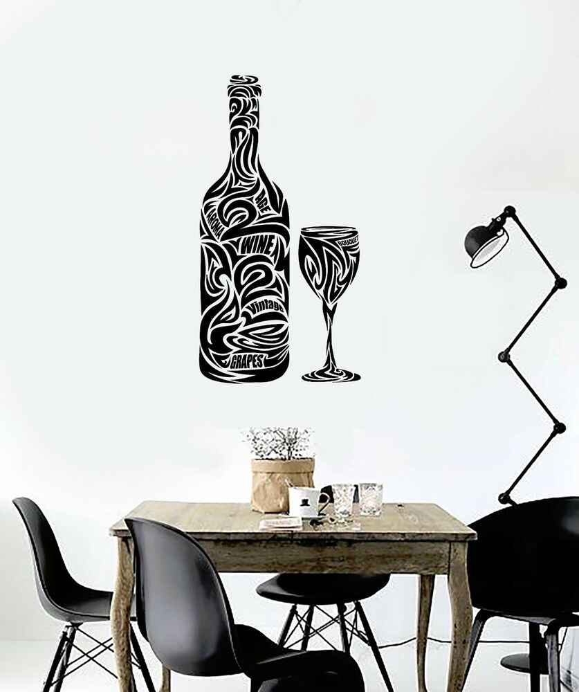 Vinyl Decal Wine Glass Bottle Bar Restaurant Drink Kitchen