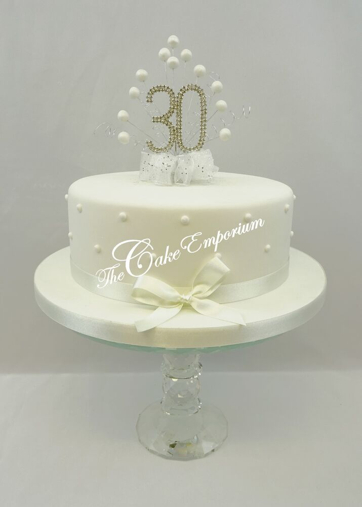 Cake topper pearl burst diamante birthday anniversary numbers white ebay - Th anniversary cake decorations ...
