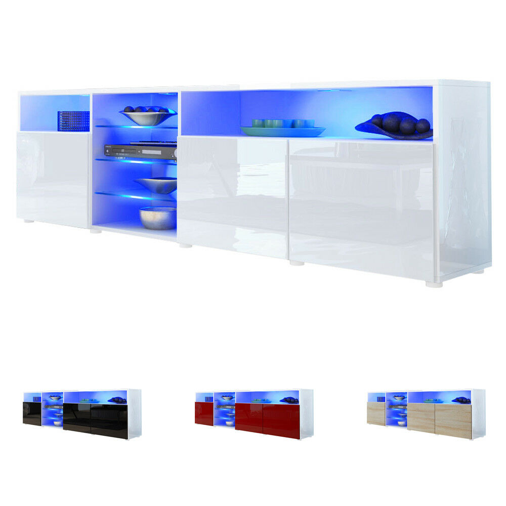 tv stand unit lowboard cabinet granada v2 white high. Black Bedroom Furniture Sets. Home Design Ideas