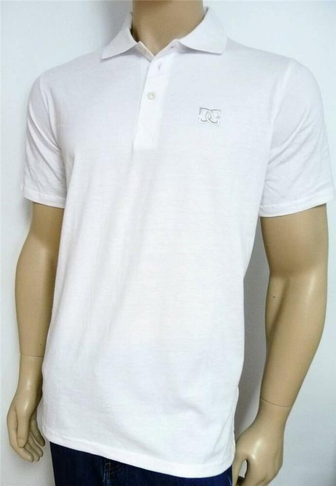 dc shoe company mens solid white loose fit polo shirt new