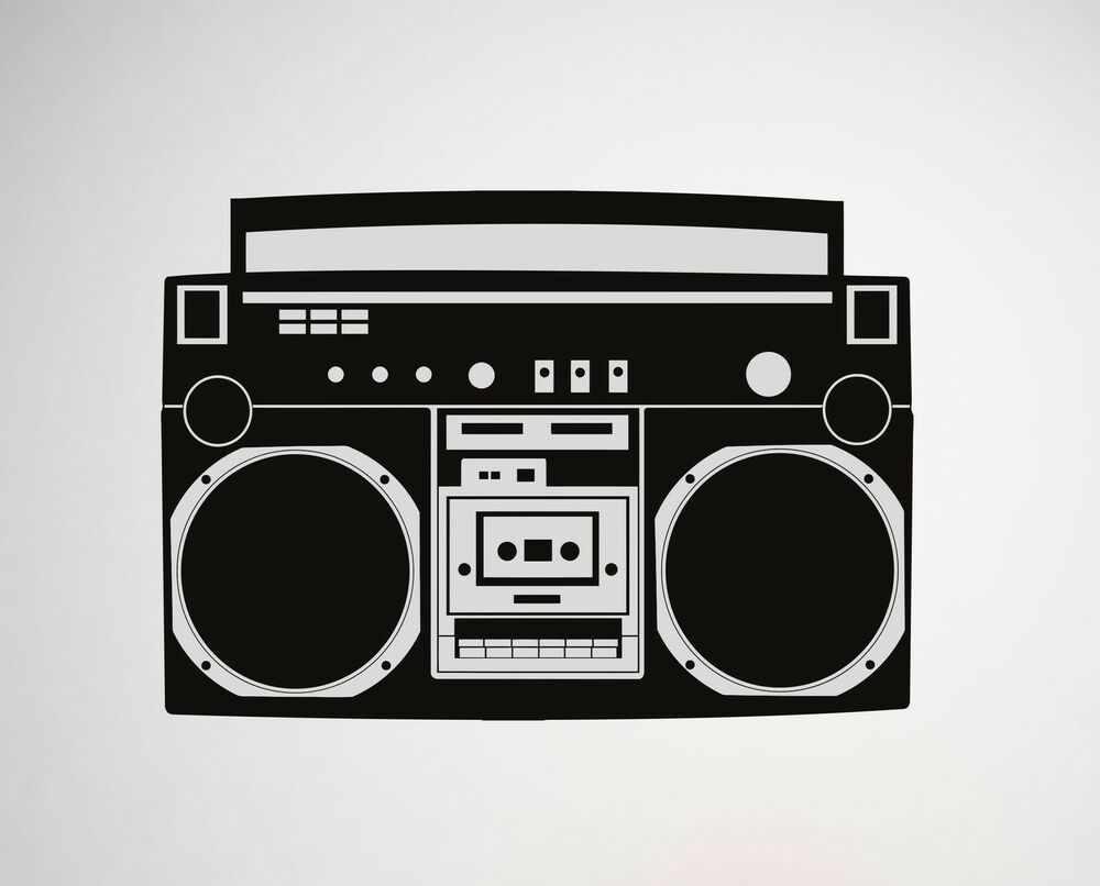 boombox wall decal radio removable sticker hip hop bboy. Black Bedroom Furniture Sets. Home Design Ideas