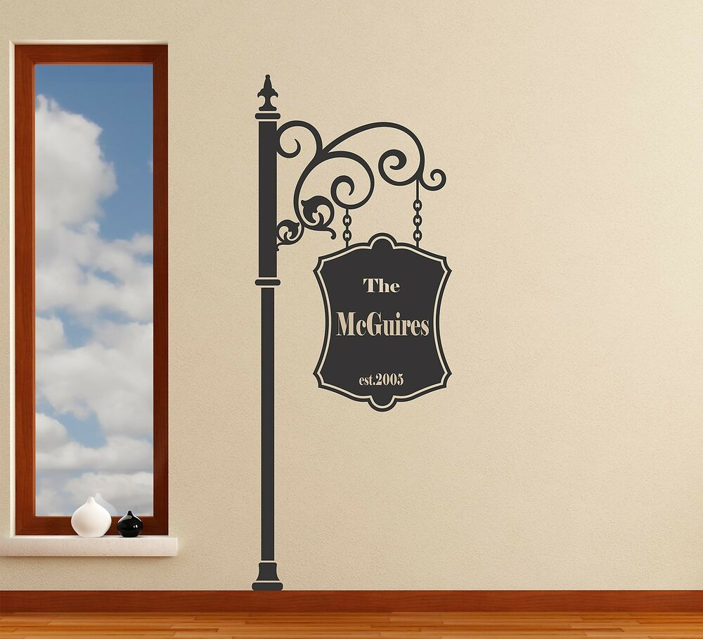 Family Sign Personalized Wall Decal Removable Street Sign