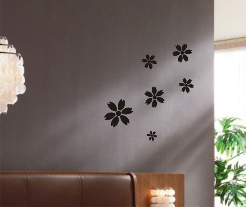 Nature Wall Decor: Flowers Wall Decal Set Art Decor Removable Stickers Mural