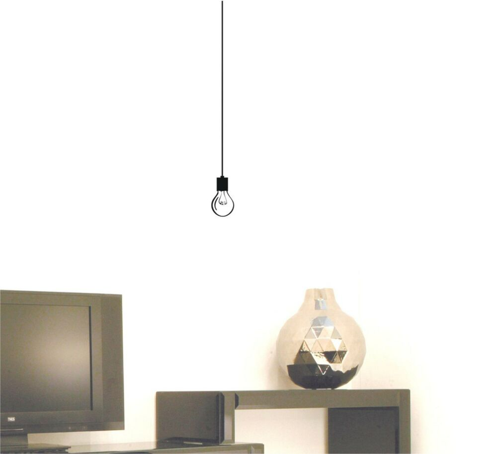 Hanging Lamp Wall Sticker: Hanging Light Bulb Wall Decal Removable Vinyl Sticker