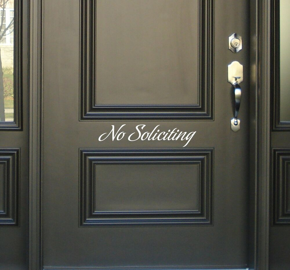 No soliciting decal removable sticker wall accent vinyl for Removable walls and doors