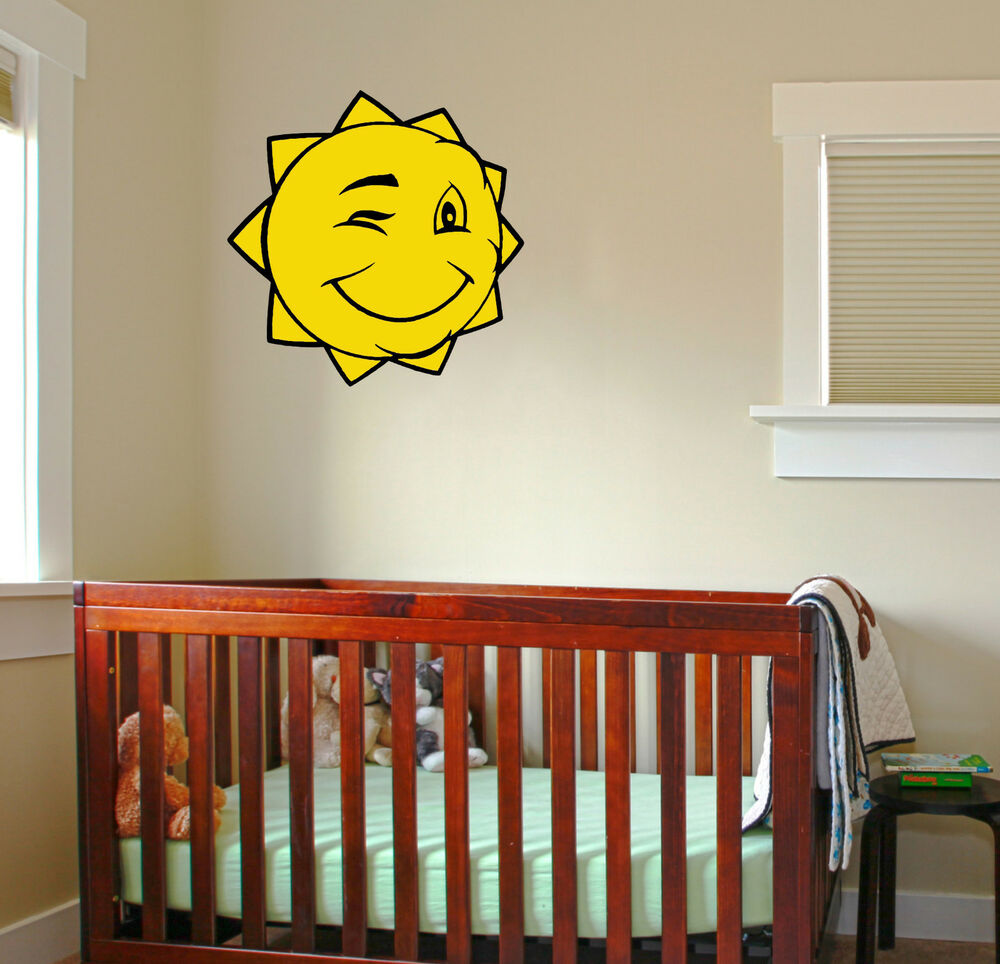 Winking sun wall decal removable sticker children kids for Baby nursery wall mural