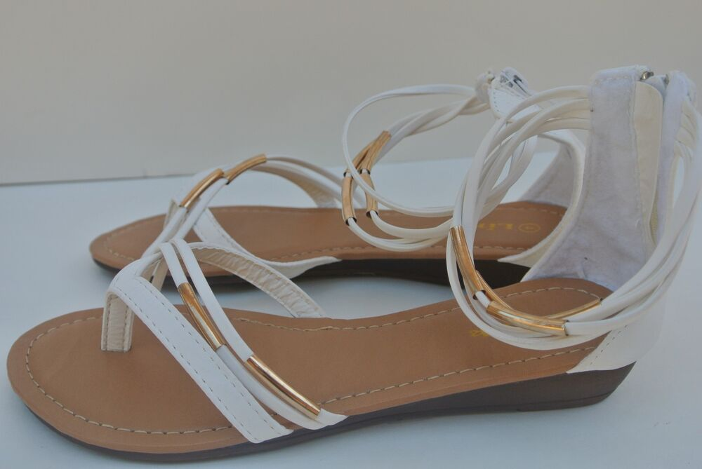 New Girls White T Strap Gladiator Thong Flat Comfortable