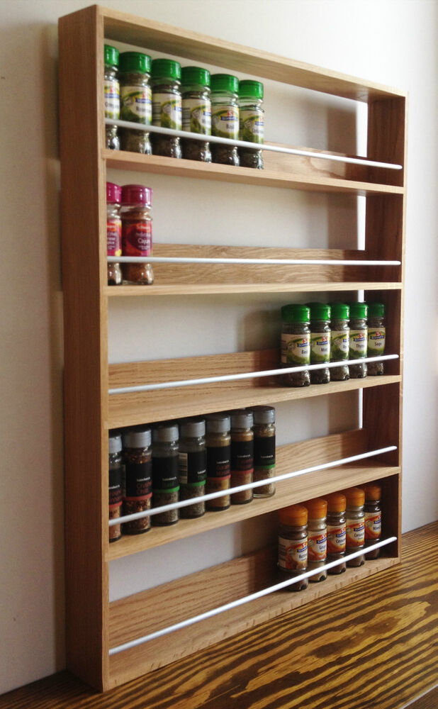 Solid Oak Spice Rack 5 Shelves Kitchen Worktop Wall