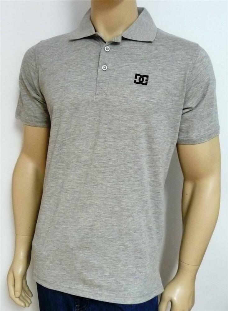 dc shoe company mens light heather gray loose fit polo