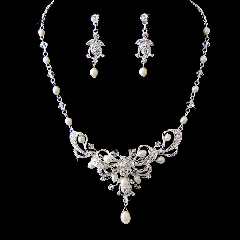 Silver Austrian Crystal & Freshwater Pearl Bridal Necklace