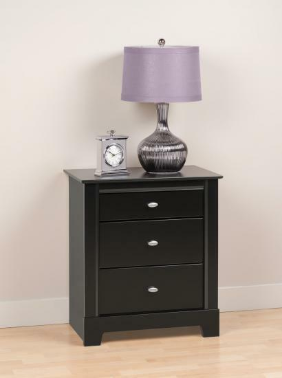 Prepac kallisto 3 drawer tall night stand in black bdnh How tall is a nightstand