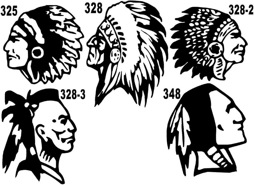 Indian Chief Brave Feather Leader Vinyl Decal Sticker 325