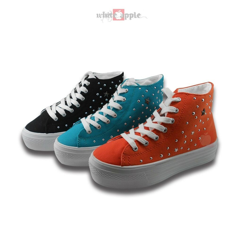 platform athletic sneakers studded canvas lace up