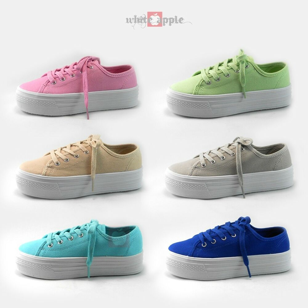 platform athletic sneakers canvas lace up rubber