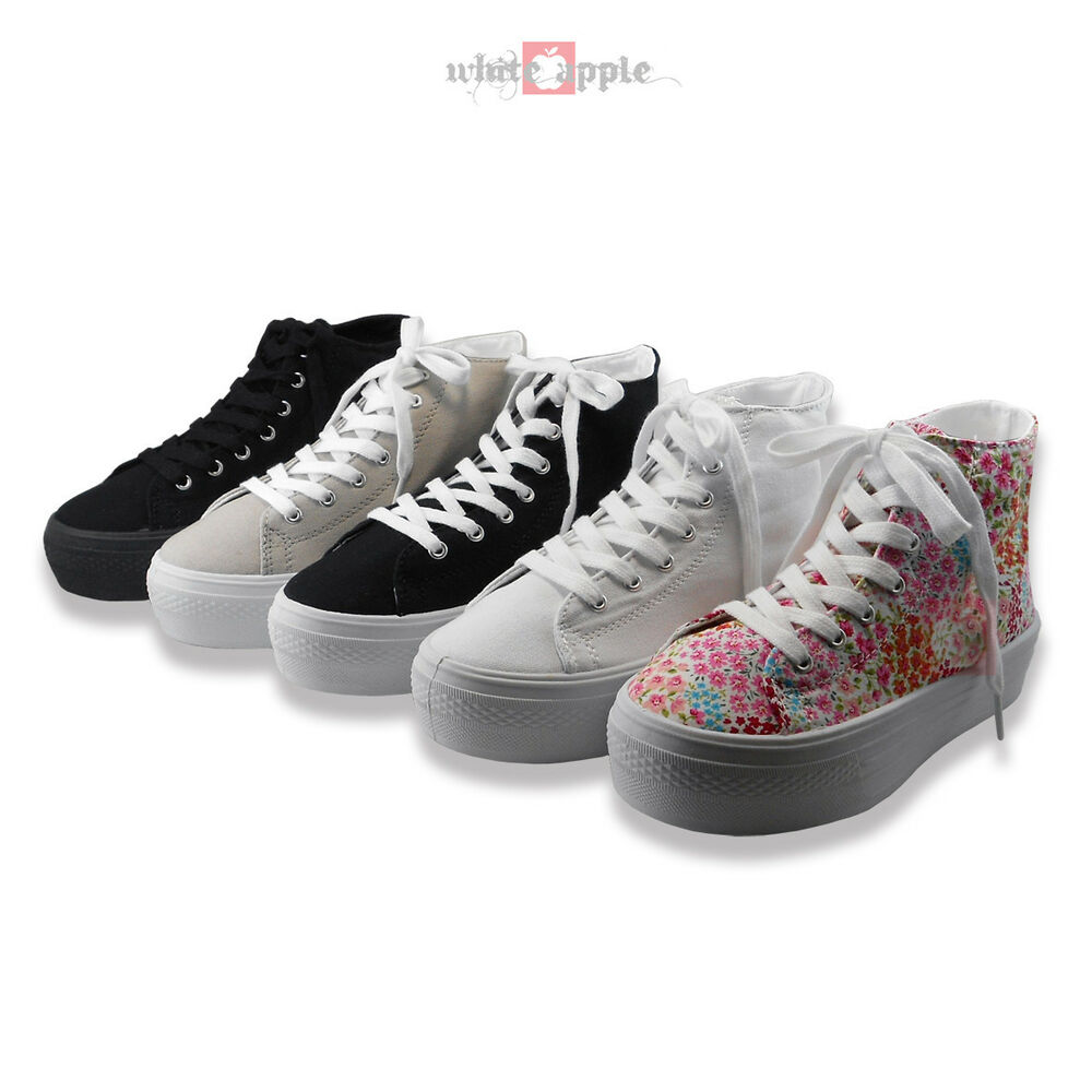 fashion platform athletic sneakers canvas lace up