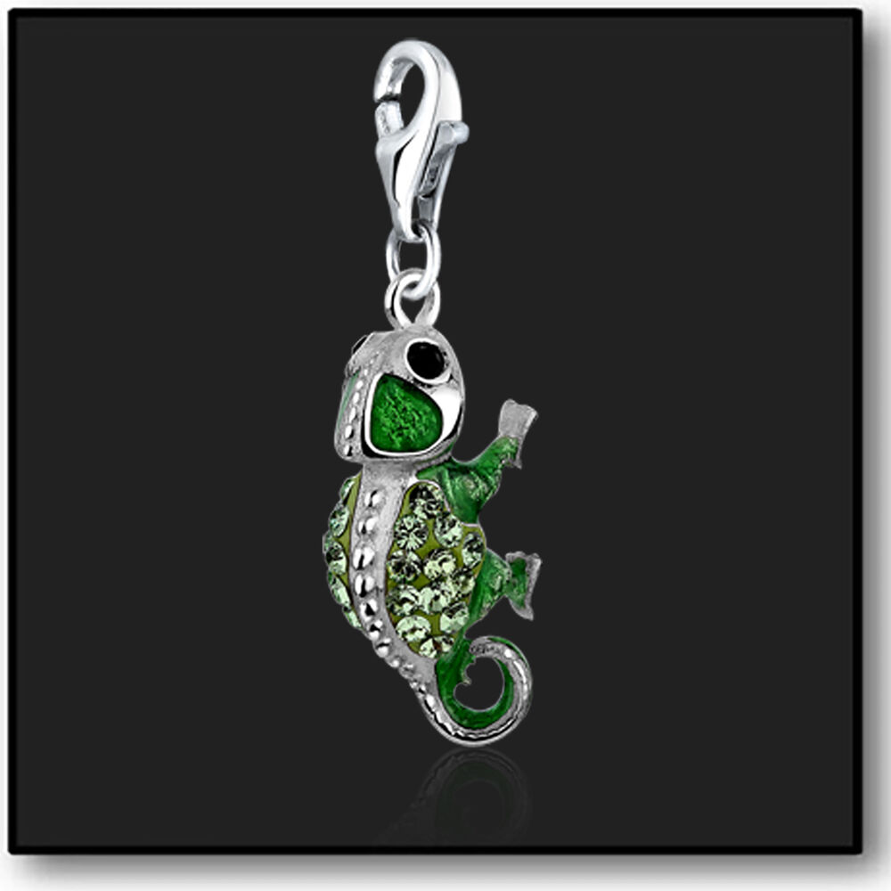 Sterling Silver Charms For Bracelets: 925 Sterling Silver Charm Chameleon Clip On Swarovski
