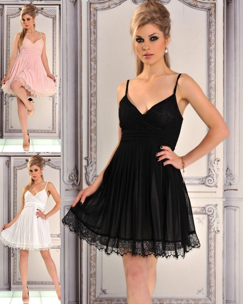 chiffon babydoll kleid mit spitze abendkleid mit spitze. Black Bedroom Furniture Sets. Home Design Ideas