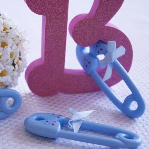 3 giant blue plastic safety pin favors baby shower party for Baby shower craft decoration ideas