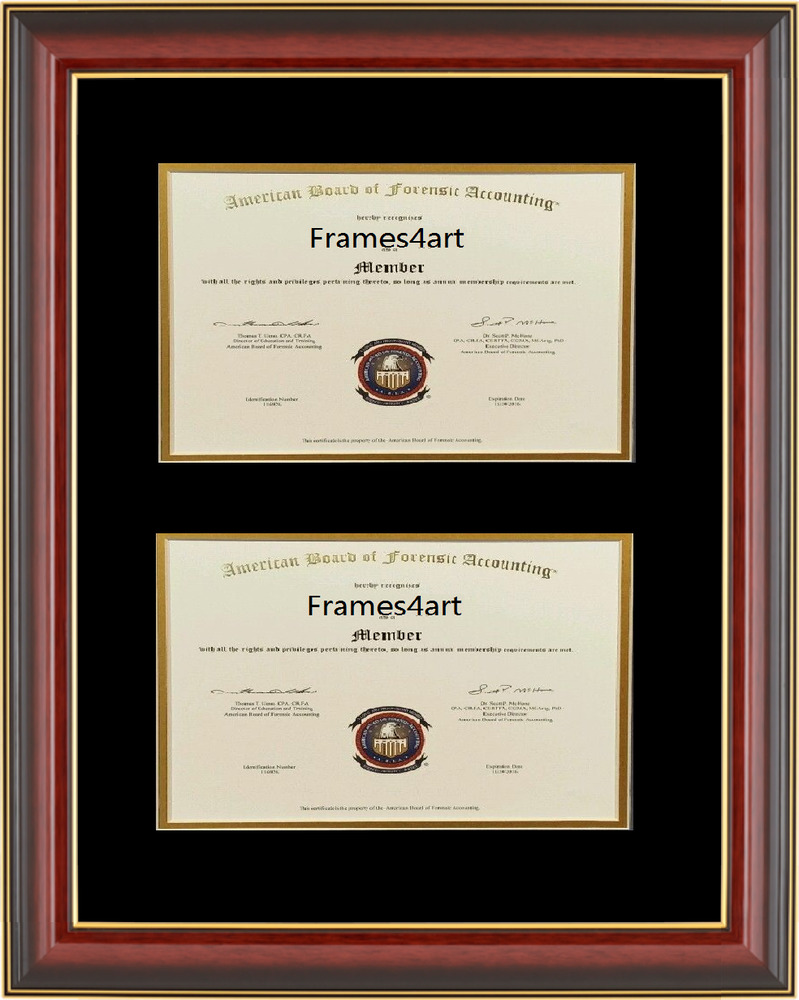 Double Diploma Mahogany Red Cherry Frame Black Mat Gift