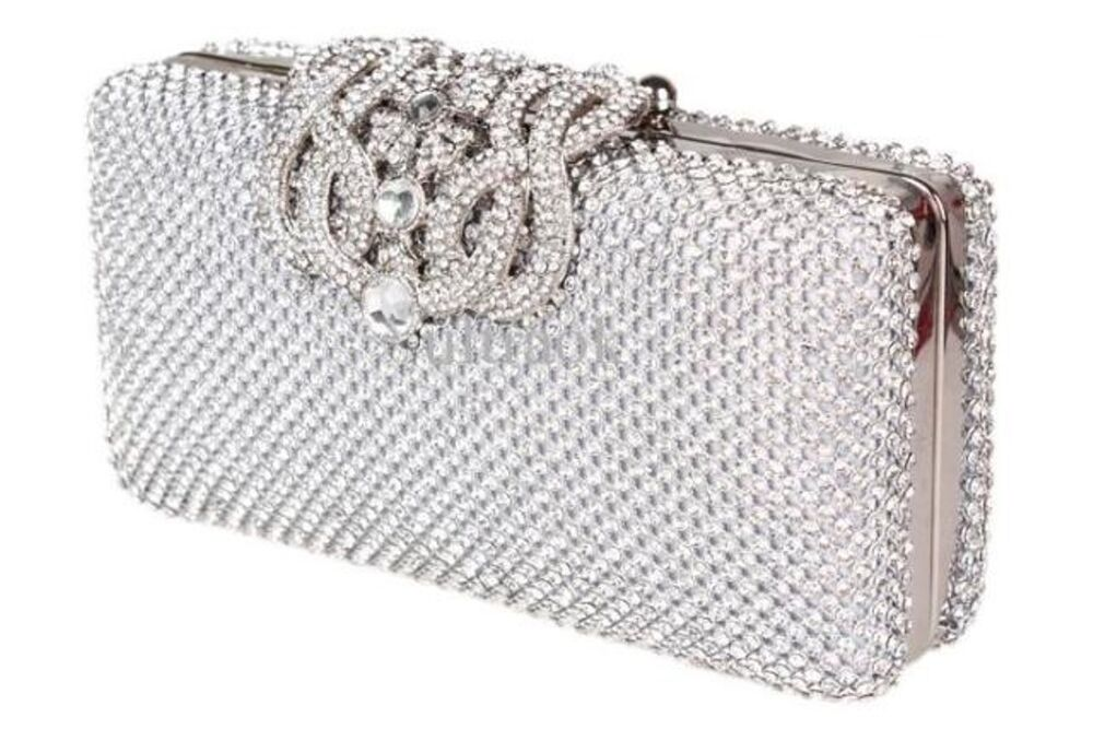 Bolsa De Festa Clutches : Unique silver diamante diamond crystal evening bag clutch