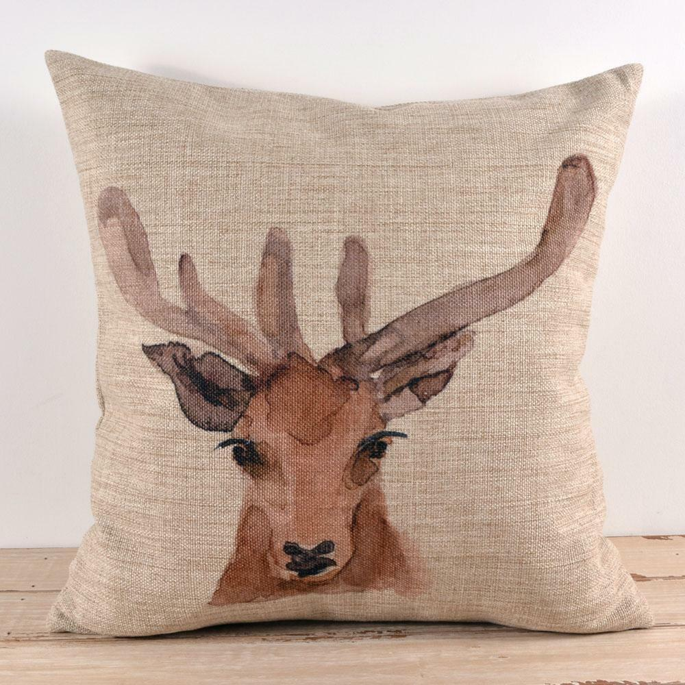 Decorative Pillows Deer : Decorative Pillow Cover linen Watercolor Deer Head animal print cushion case 18