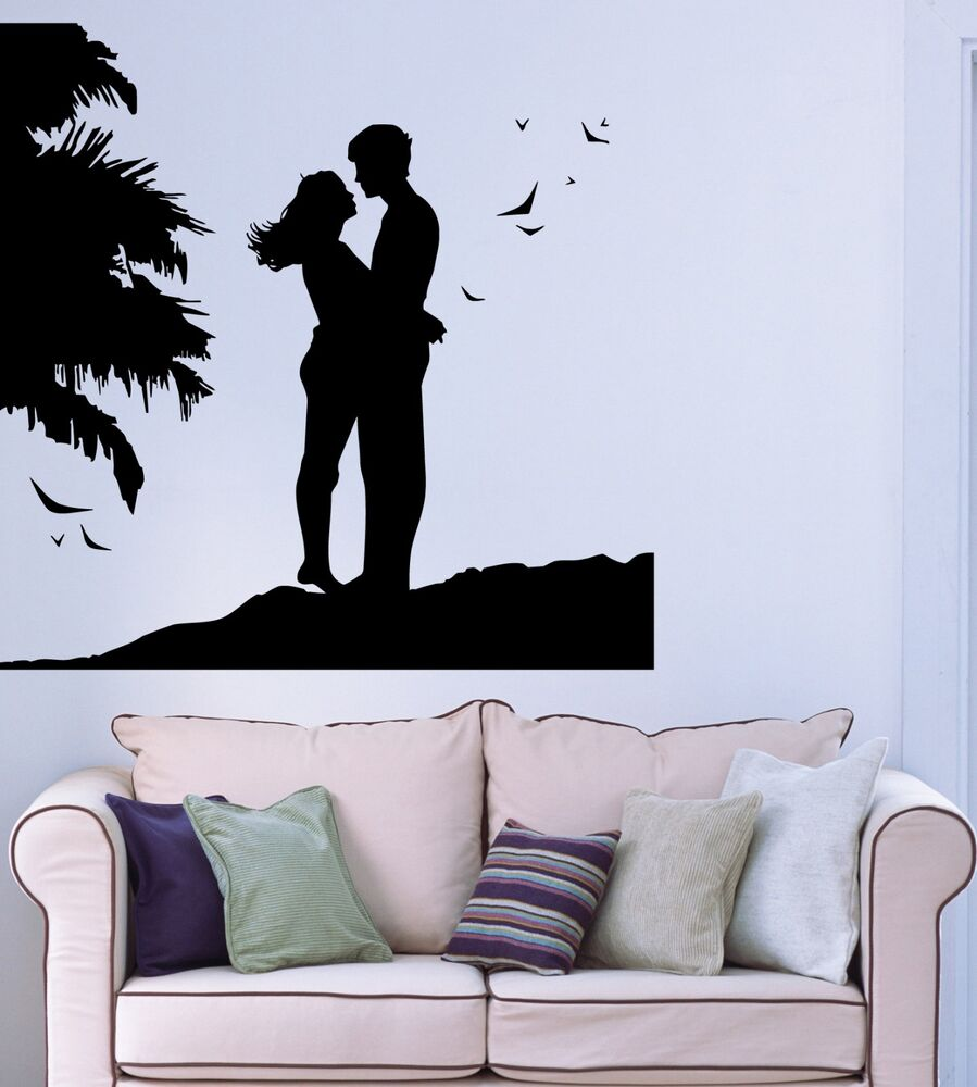 Wall Sticker Vinyl Decal Romantic Couple in Love Beach ...