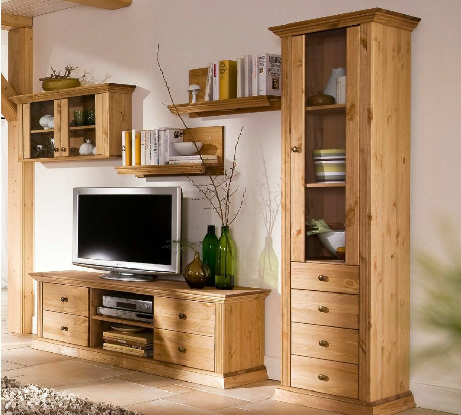 wohnwand 5tlg landhausstil tv regal schrank aus kiefernholz gelaugt ge lt ebay. Black Bedroom Furniture Sets. Home Design Ideas