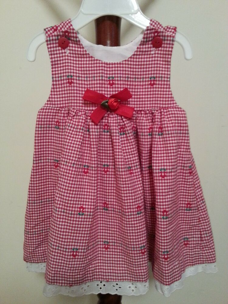 NWOT Baby Girls Red Gingham Dress Red Roses So Cute ...