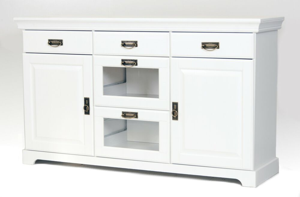 sideboard kommode aus kiefernholz wei lackiert schrank anrichte ebay. Black Bedroom Furniture Sets. Home Design Ideas