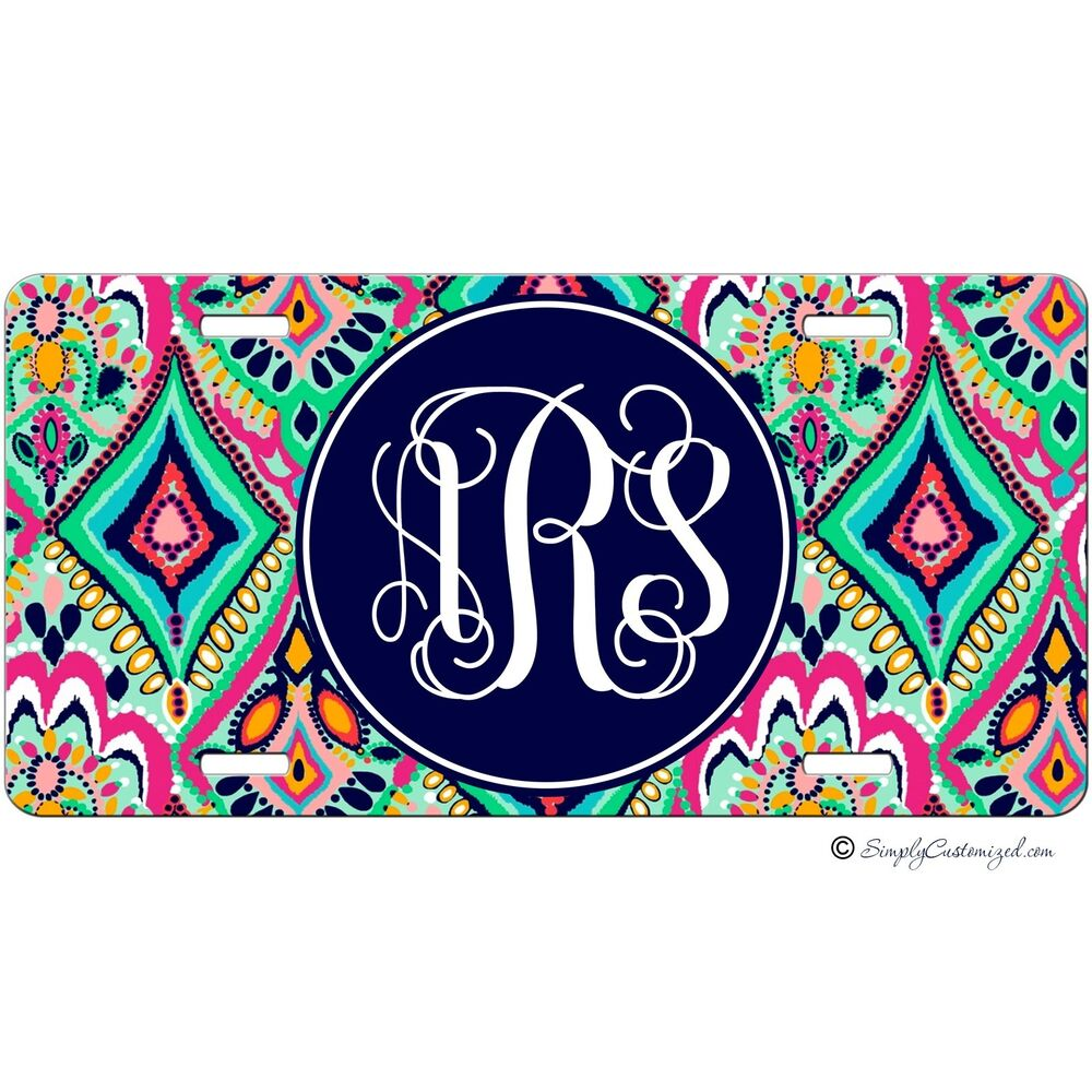 personalized monogrammed car tag license plate