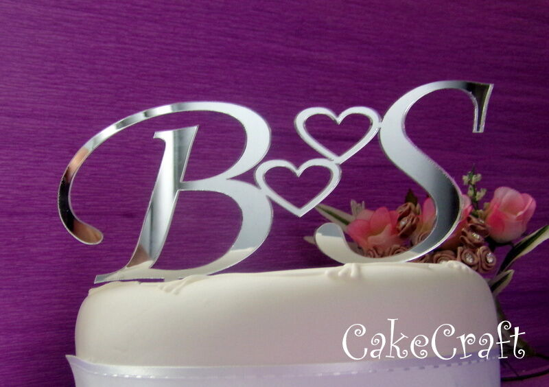 Cake Decorations Letters Uk : Mirrored Acrylic initial letters Personalised Wedding cake ...