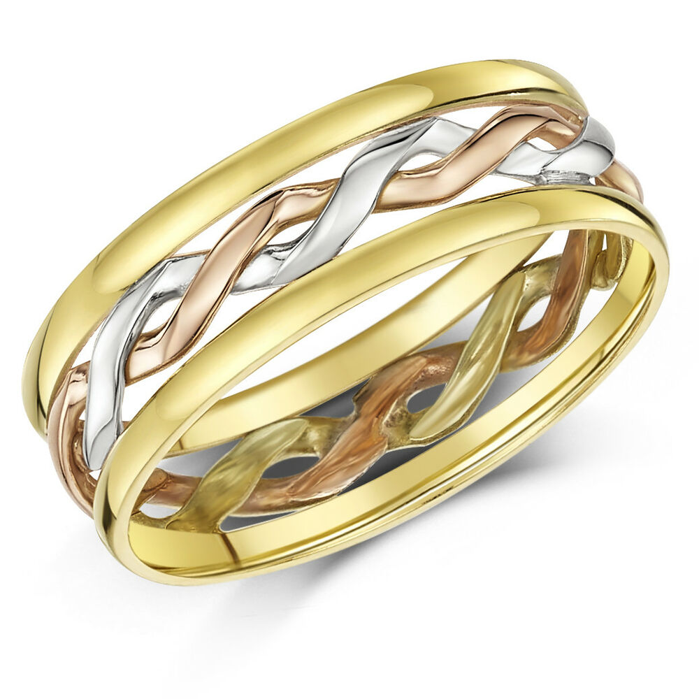 Celtic ring 9ct gold 3 colour hand made 6mm wedding ring for Celtic wedding rings for men