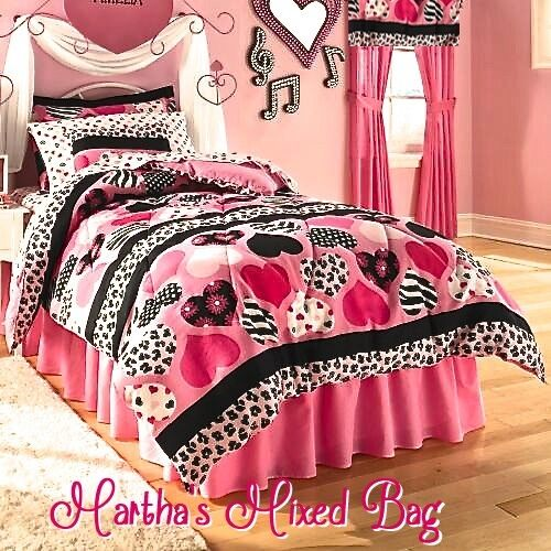 Hearts Teen Girls Pink Black Zebra Stripe Animal Print
