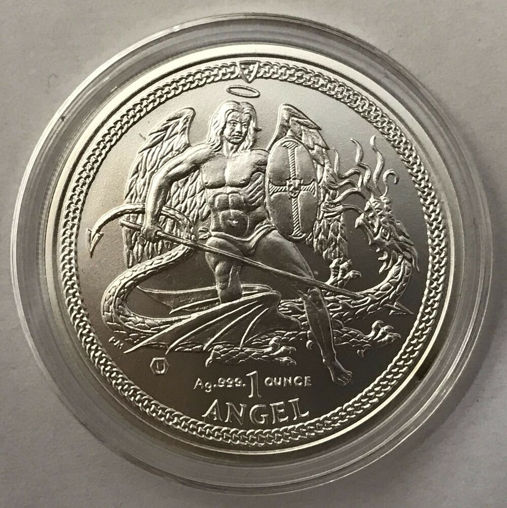 2014 Isle Of Man Angel Brilliant Uncirculated Coa 1oz 999