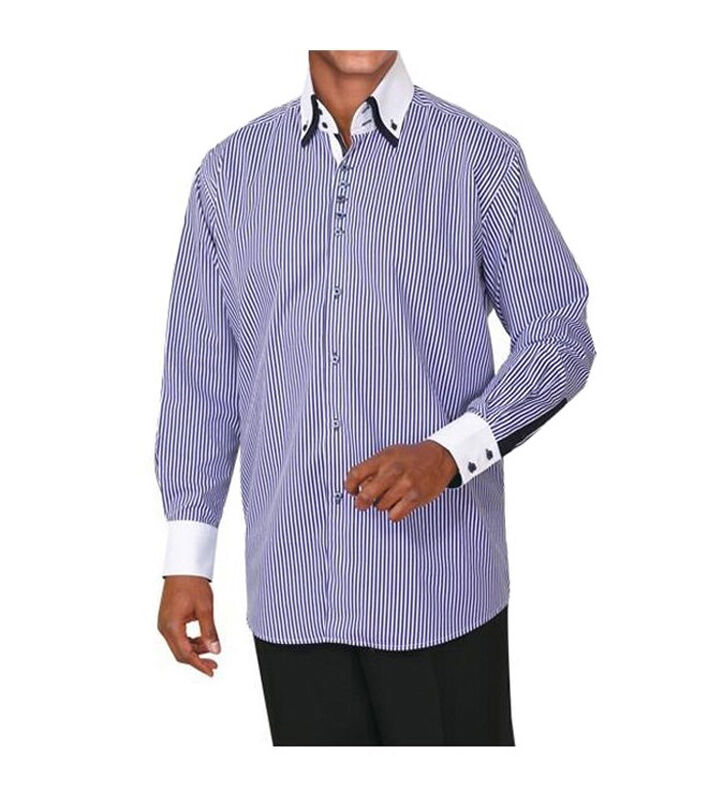Men's Fashionable Casual Striped Dress Shirt #606 Button ...